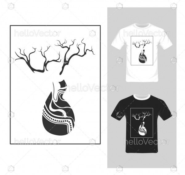 T-shirt graphic design. Black and white tree - vector illustration