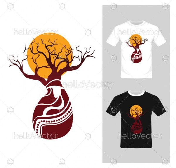 T-shirt graphic design. Abstract tree with sun - vector illustration