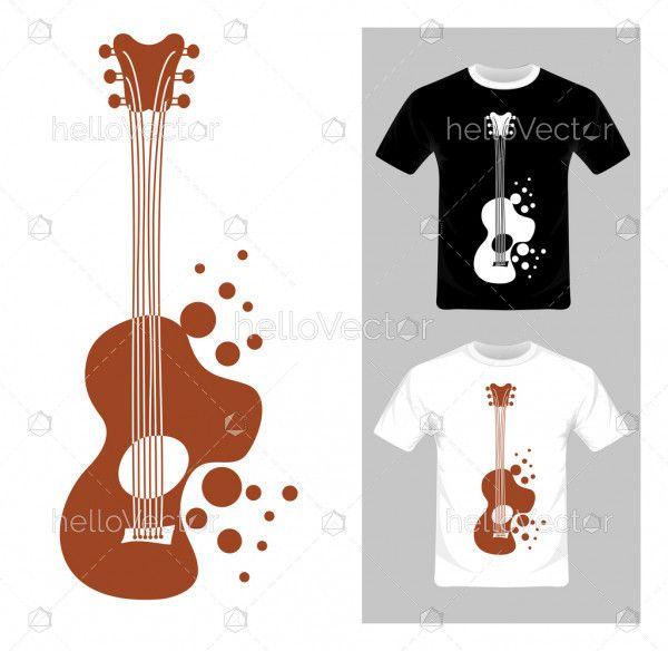 T-shirt graphic design. Guitar vector illustration