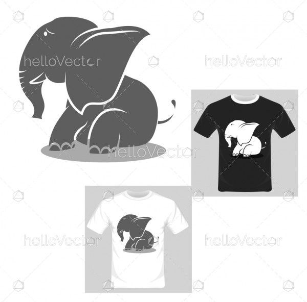 T-shirt graphic design. Cute elephant playing with her mom - Vector Illustration.