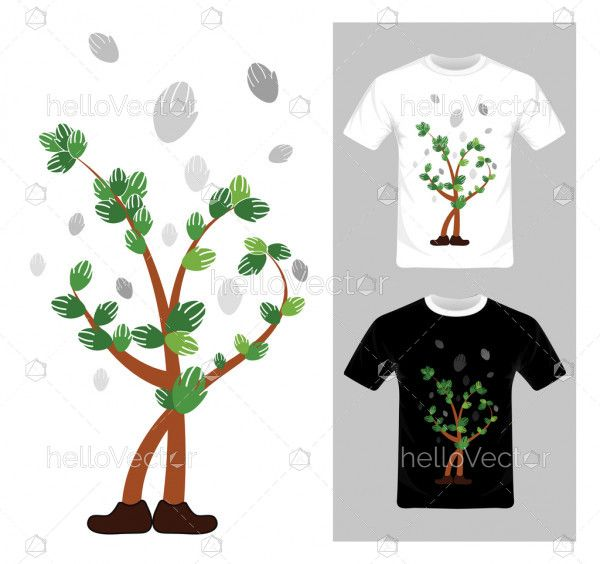 Tree character concept - vector illustration. T-shirt graphic design