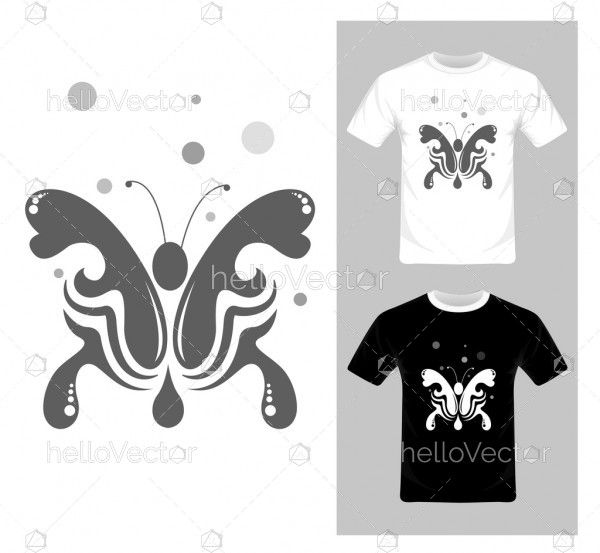 T-shirt graphic design. Abstract butterfly vector illustration
