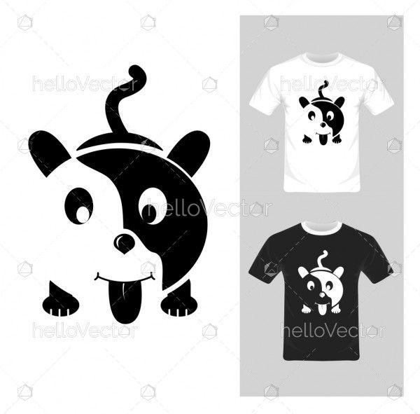 T-shirt graphic design. Cute puppy - vector illustration
