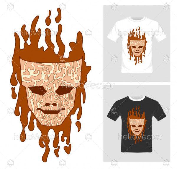 T-shirt graphic design. Mask vector illustration