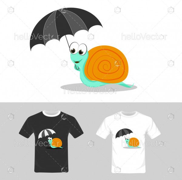 T-shirt graphic design. Cute snall with umbrella - vector illustration