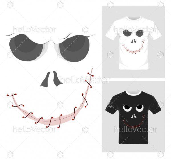T-shirt graphic design. Ghost - Vector Illustration