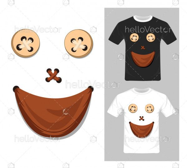 T-shirt graphic design. Smiley face character - vector illustration