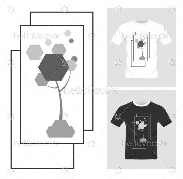 Abstract pentagon tree vector illustration. T-shirt graphic design