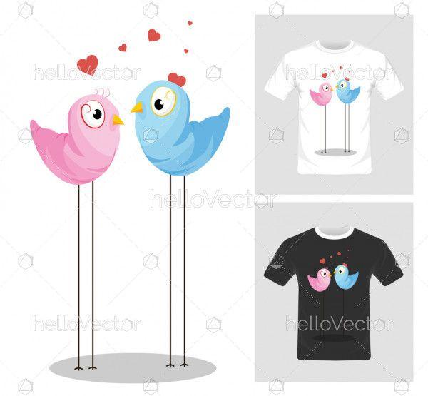 T-shirt graphic design. Love birds vector illustration