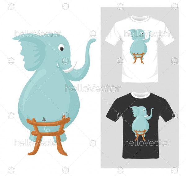 Cute funny elephant vector illustration. T-shirt graphic design