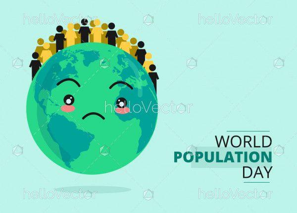 World population day poster - Vector Illustration