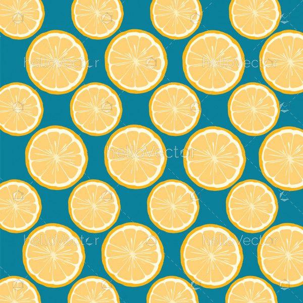 Seamless lemon and orange pattern background - Vector illustration