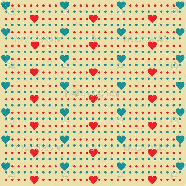 Heart shape pattern with dots background - Vector illustration
