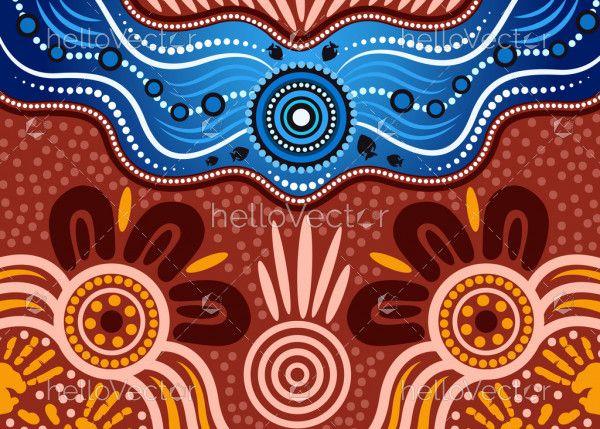 Aboriginal dot art vector background. River concept