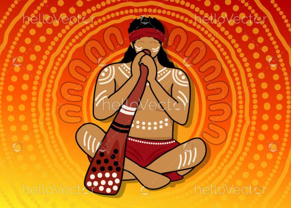 Aboriginal man playing a traditional musical instrument didgeridoo