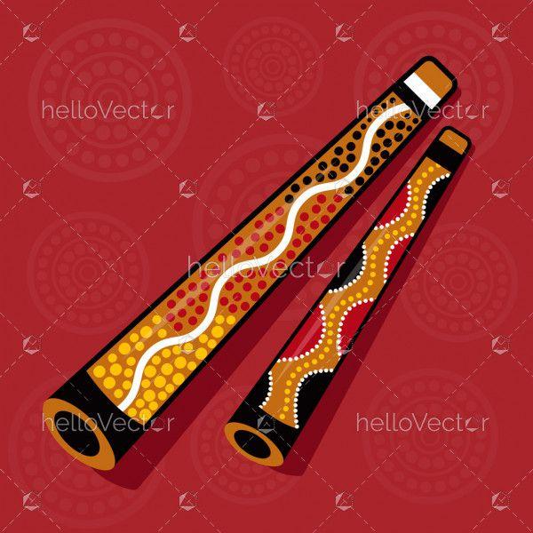 Aboriginal Didgeridoo - Vector Illustration