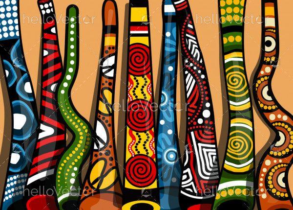 Aboriginal Didgeridoo Art Background