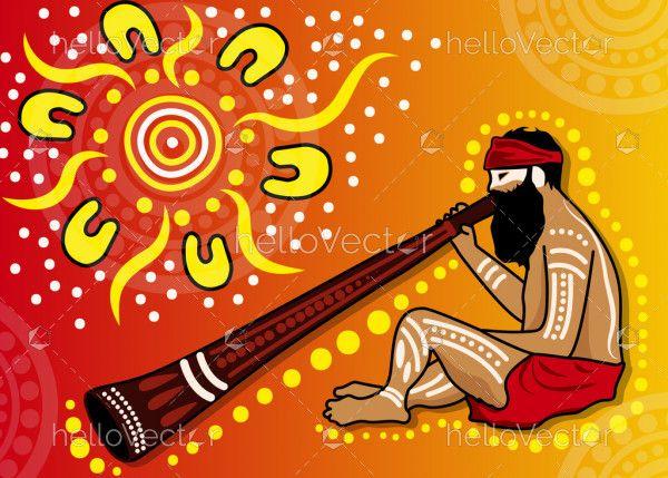 Aboriginal man playing a didgeridoo