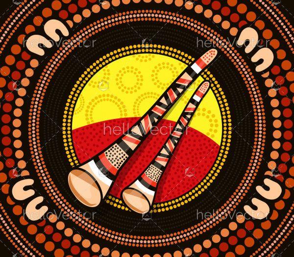 Aboriginal dot painting with didgeridoo
