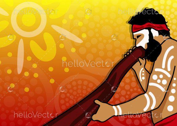Aboriginal man playing a didgeridoo musical instrument