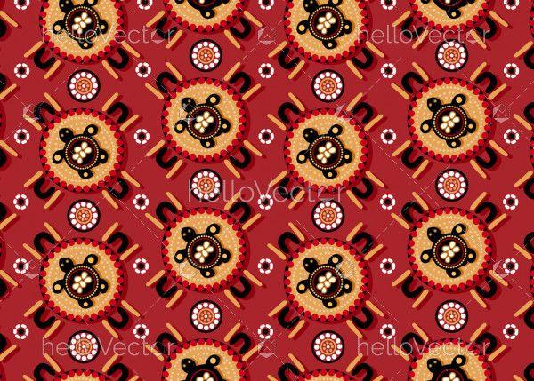 Aboriginal dot art seamless turtle pattern background
