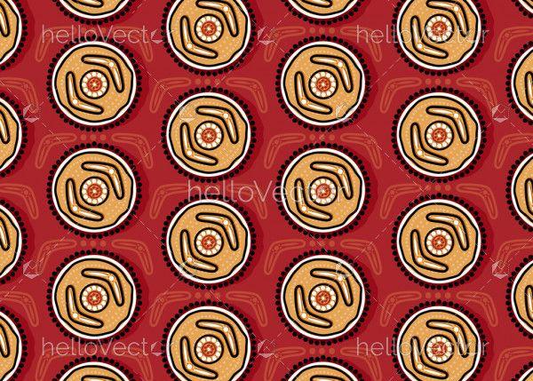 Aboriginal dot art seamless boomerang pattern background