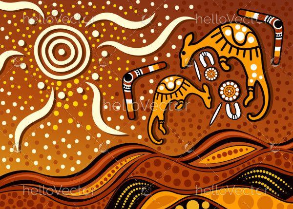 Aboriginal dot art vector painting