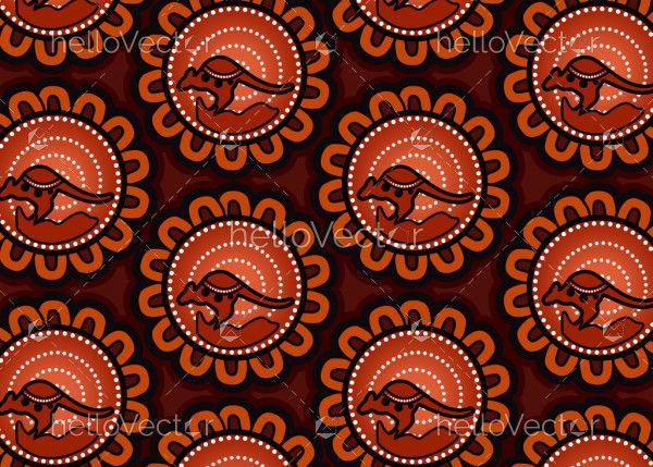 Aboriginal dot art seamless kangaroo pattern background