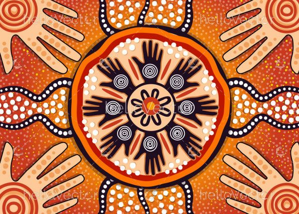 Aboriginal dot art vector painting. Friendship and unity concept
