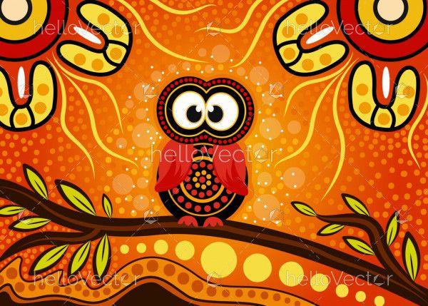 Aboriginal dot art vector painting with owl