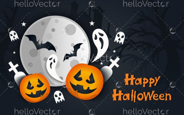 Scary dark Halloween vector poster with spooky objects