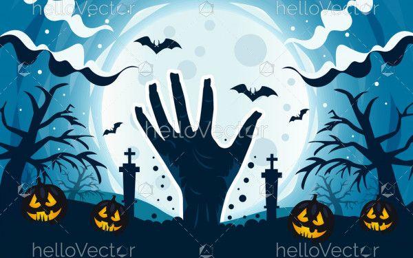 Scary zombie hand background with dark graveyard