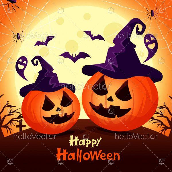 Spooky pumpkins. Happy halloween illustration