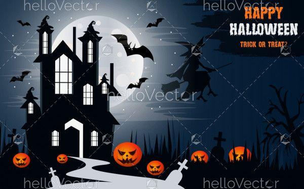 Happy Halloween vector witch castle poster design