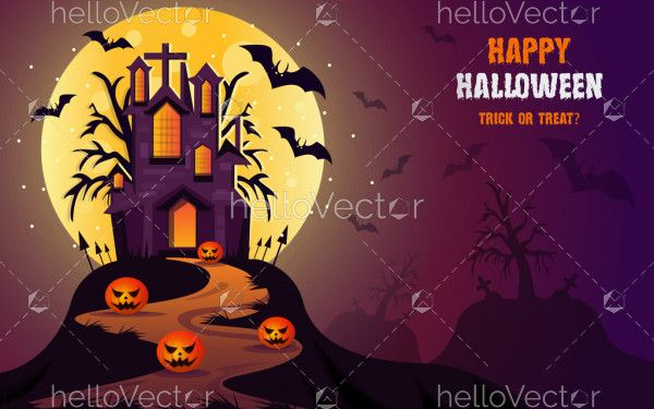 Happy Halloween vector witch castle poster background