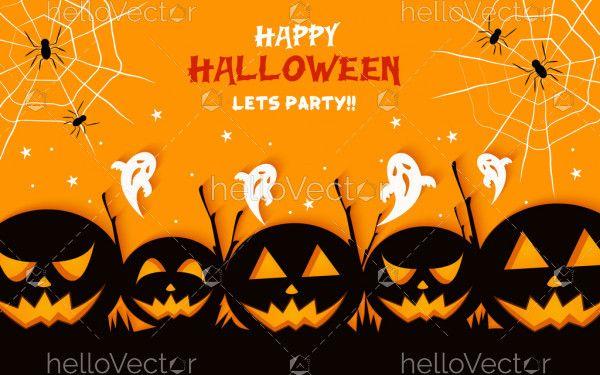 Evil pumpkins. Happy halloween party background