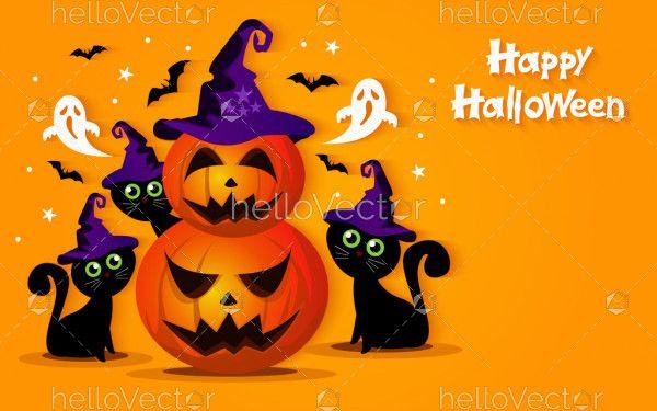Evil pumpkins and black cats. Halloween vector illustration