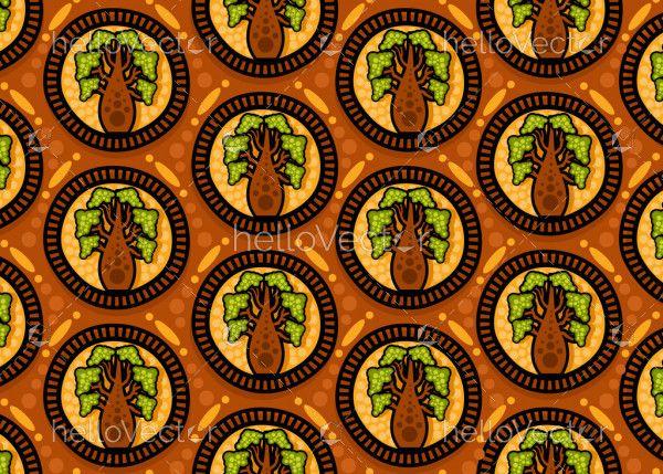 Aboriginal dot art seamless boab tree pattern background