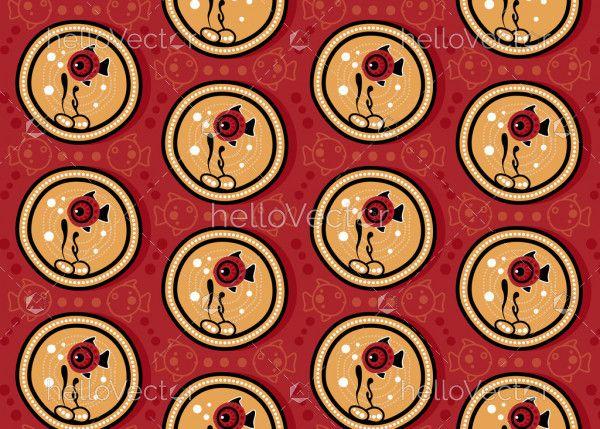 Aboriginal dot art seamless fish pattern background