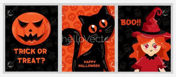 Pumpkin, halloween cat and witch illustration set