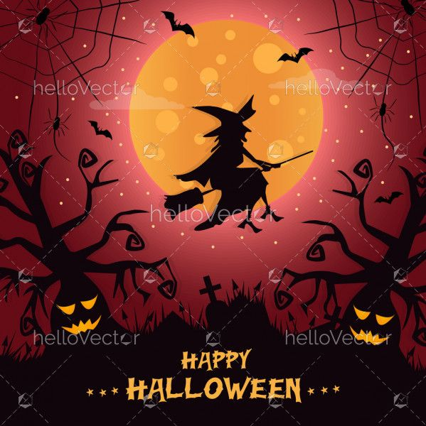 Witch flying on broomstick. Halloween illustration