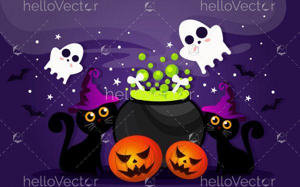Halloween vector scary night background