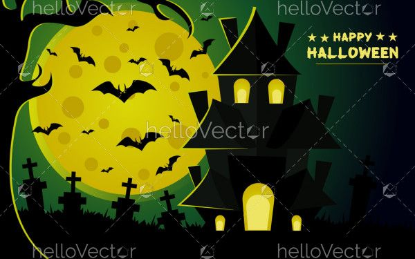 Halloween vector scary night background with witch castle