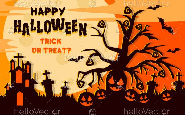 Flat style halloween trick or treat background