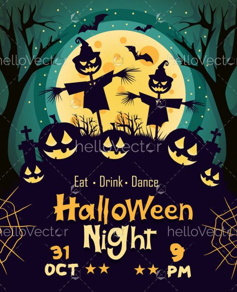Happy Halloween banner or party invitation card - Vector Illustration
