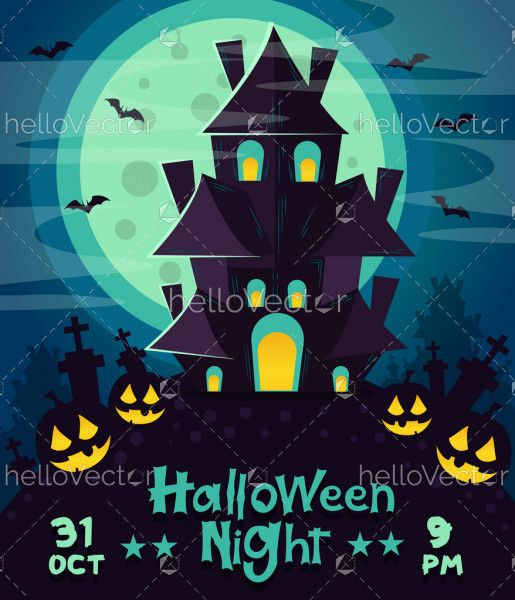 Happy Halloween poster or party invitation card