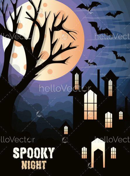 Halloween haunted house background