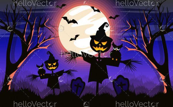 Scarecrow Halloween Background - Vector Illustration