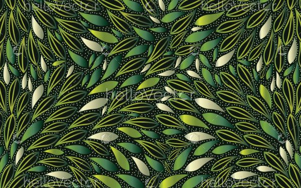 Green bush leaves seamless vector background with dots