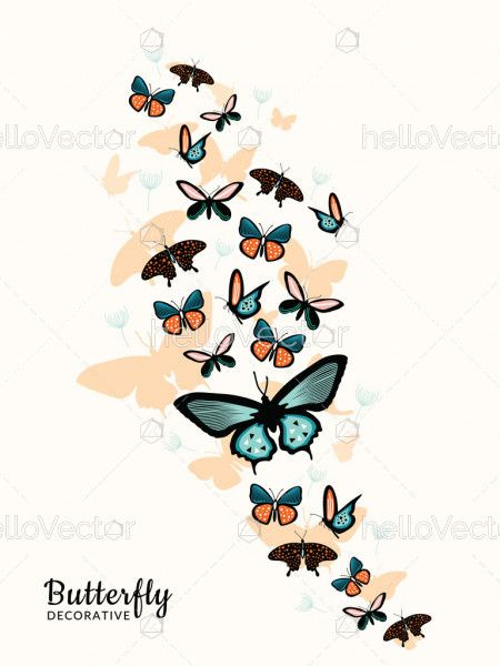 Butterfly Wall Decoration - Vector Illustration